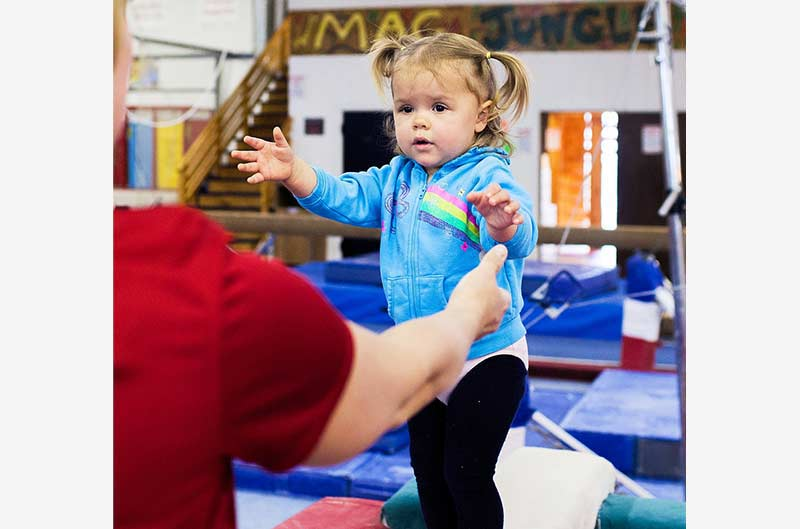 Girls Recreational Classes - parent assisting child with balance