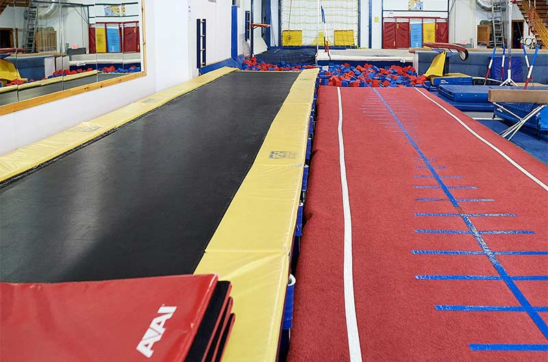 Maine Academy of Gymnastics - runway to foam pit