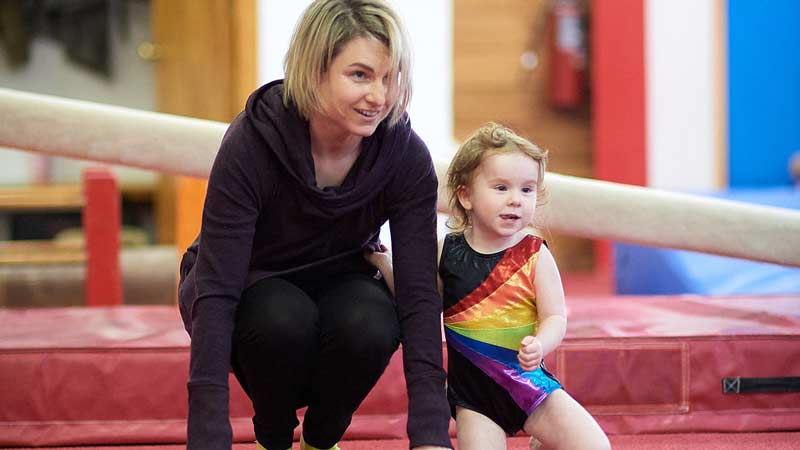 Parent with gymnastics child