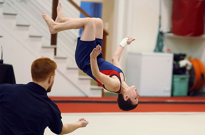 Competitive Boys gymnastics - dismount off vault