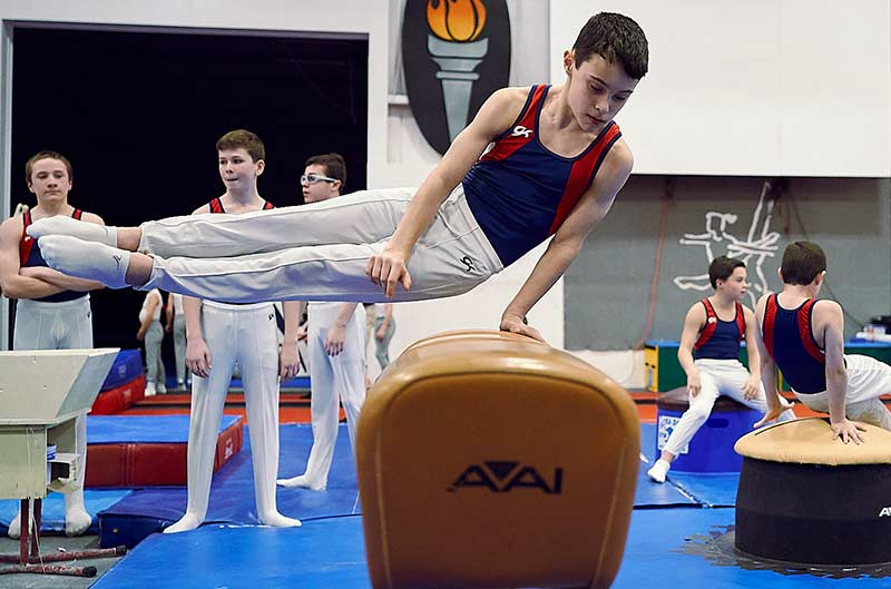 Boys Competitive Gymnastics - athlete competing on pommel horse